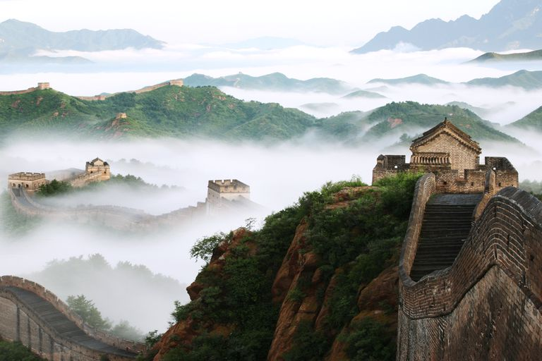 The Great Wall of China shrouded in fog.