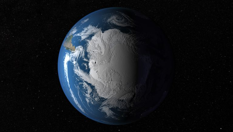 Digital illustration of Antarctica from space.