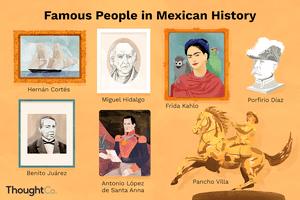 Famous people in Mexican history: Hernán Cortés, Miguel Hidalgo, Frida Kahlo, Porfirio Díaz, Benito Juárez, Antonio López de Santa Anna, Pancho Villa