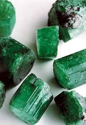 Colombian emerald crystals.