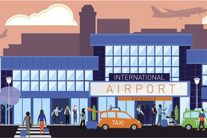 Busy International Airport scene with diverse people