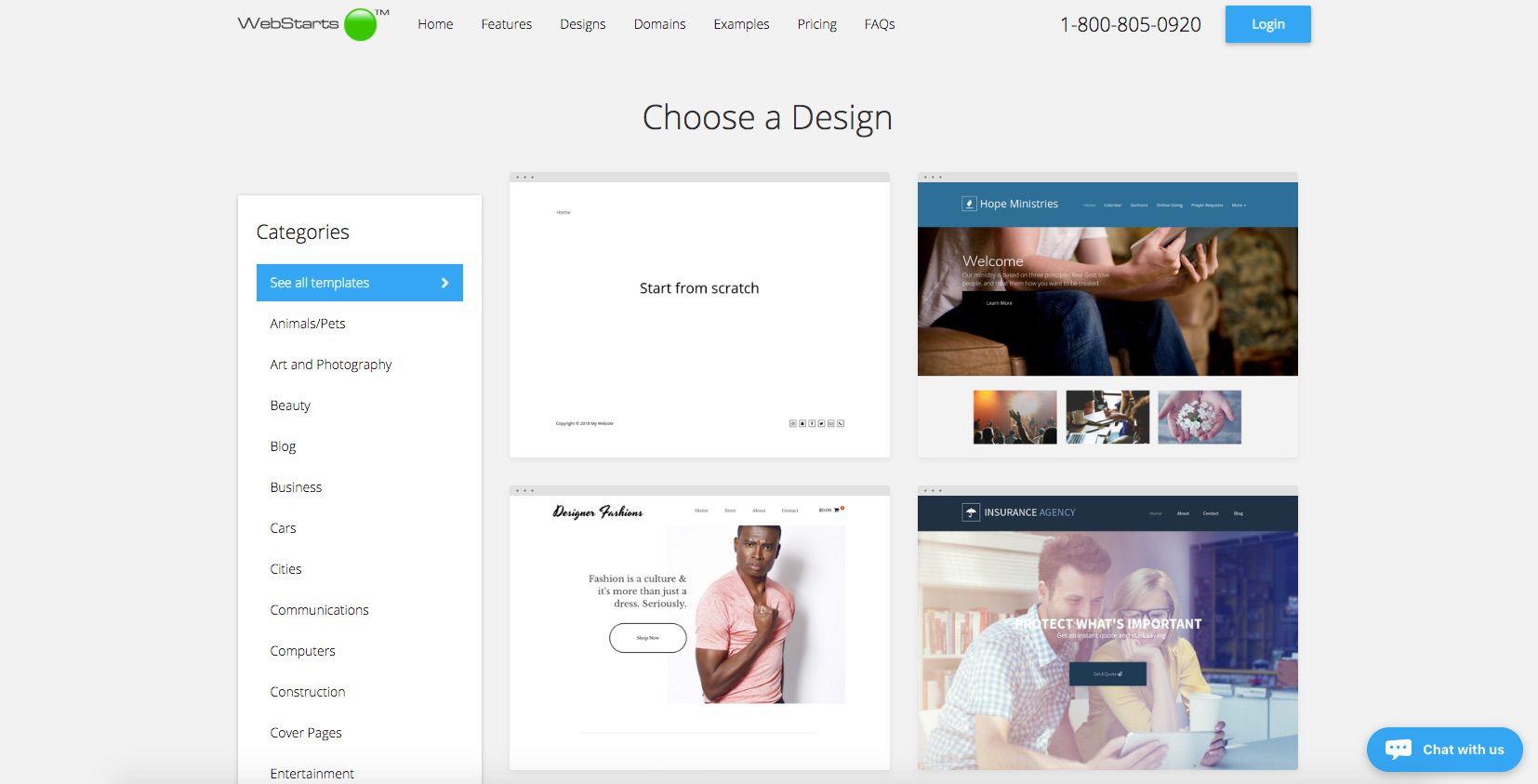 A screenshot of WebStarts.com.