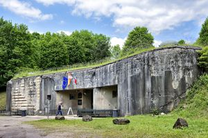 France, Bas Rhin, Lembach, Maginot Line, Four a Chaux large artillery work, main entrance