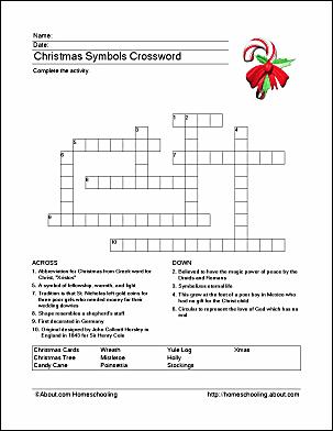 Christmas Symbols Crossword Puzzle