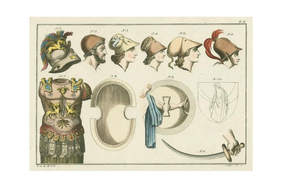 Schilde, einschließlich eines Schildes in Abbildung 8.  Rüstung von Pyrrhus