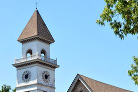 The steeple of Woodworth Chapel at Tougaloo College