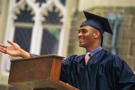 Young man giving graduation speech