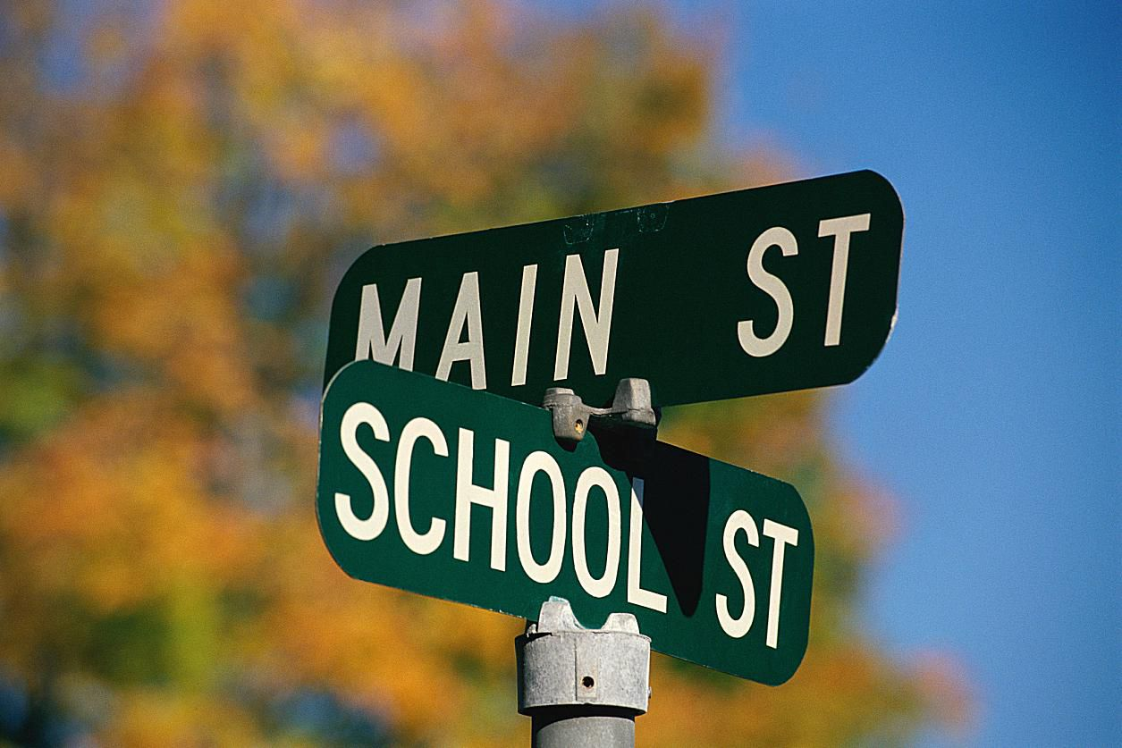 Main St. and School St. sign