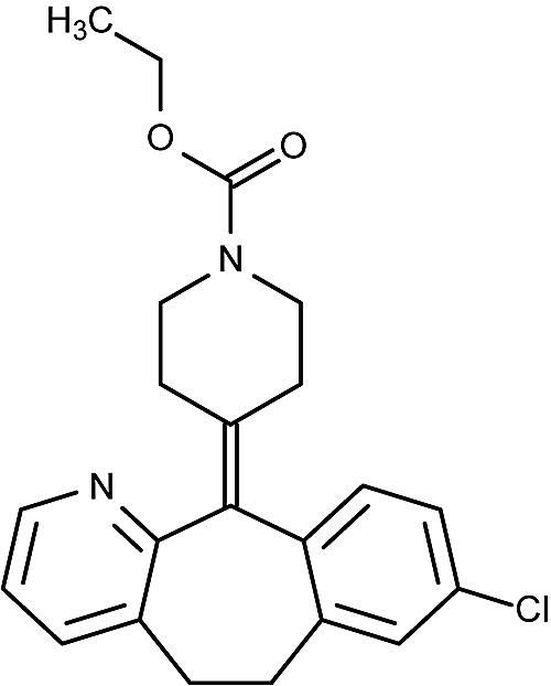 This is the chemical structure of loratadine.