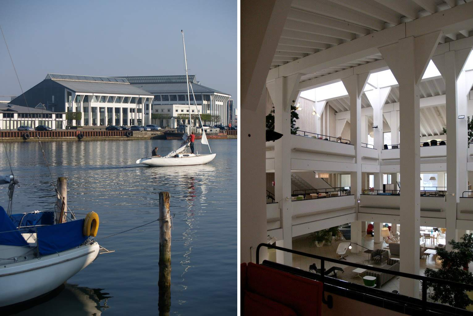 two photos, left are buildings near water and boats; right is spacious interior gallery with columned balconies