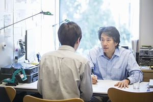 Professor meeting with student