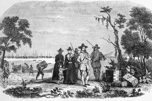 Illustration of John Winthrop Landing in Massachusetts