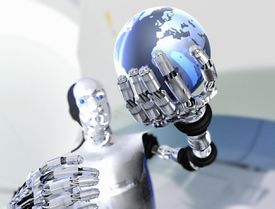Robot holding up model of planet Earth