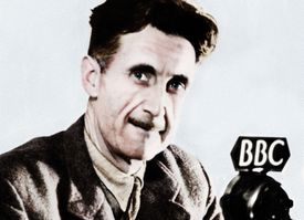George Orwell next to BBC microphone