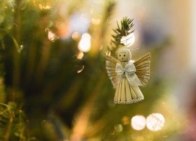 close up of decoration on christmas tree