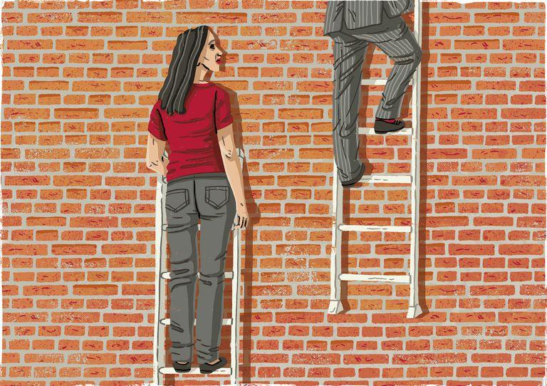Woman watching man climb higher on ladder