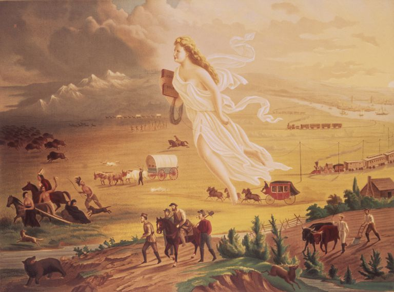 """American Progress"" by John Gast depicting an angel guiding travelers to the West."