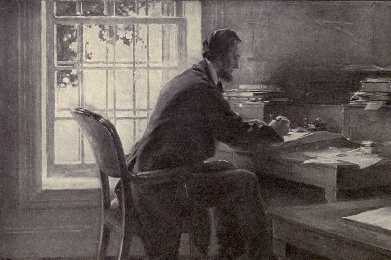 Artist's depiction of Lincoln in the War Department telegraph office.