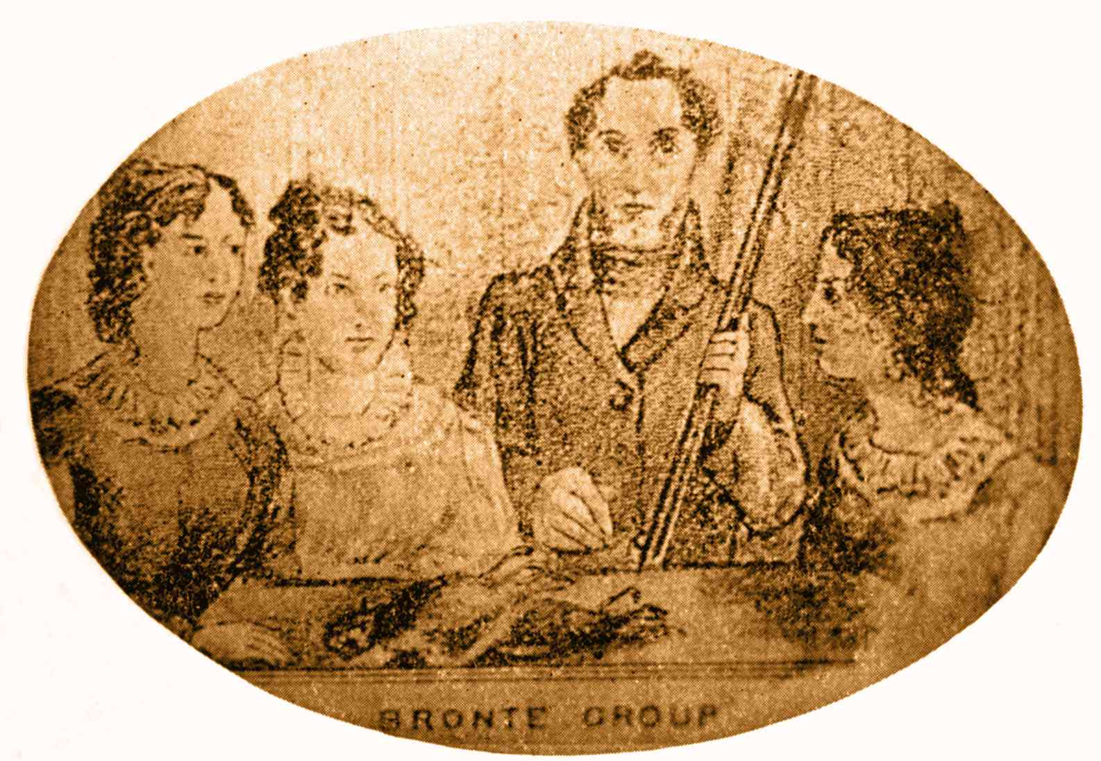 Illustration of the four Bronte siblings