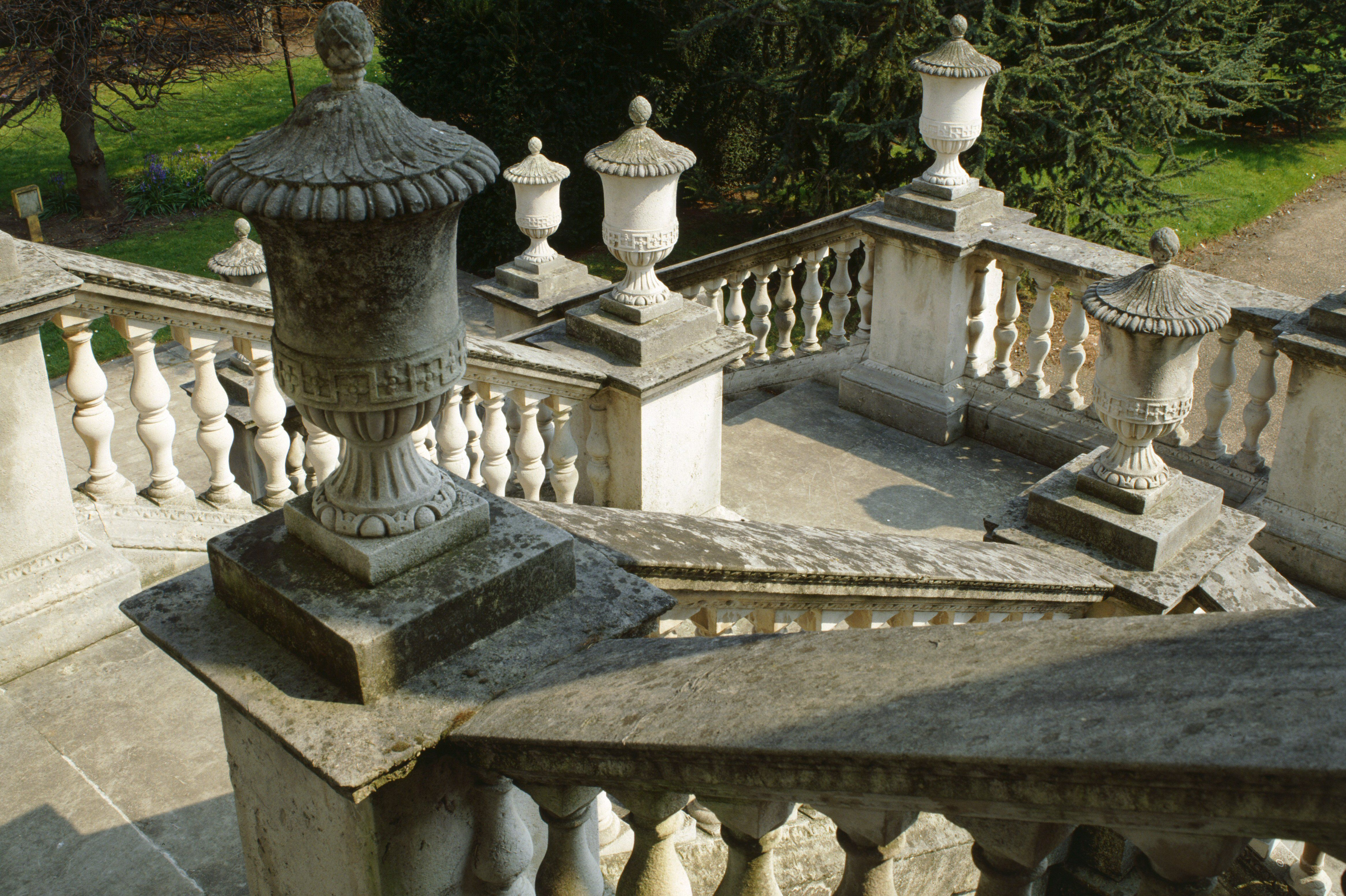 View looking down the entrance steps from the portico of Chiswick House in England