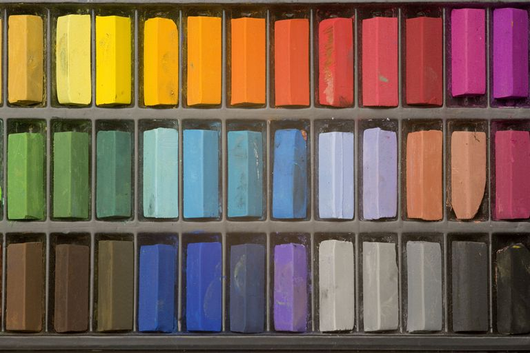 An artists pastels with various colors