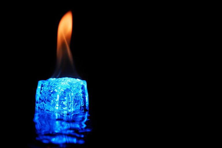 You can apply chemistry to set ice on fire to either give the appearance of flames or actually made it burn.