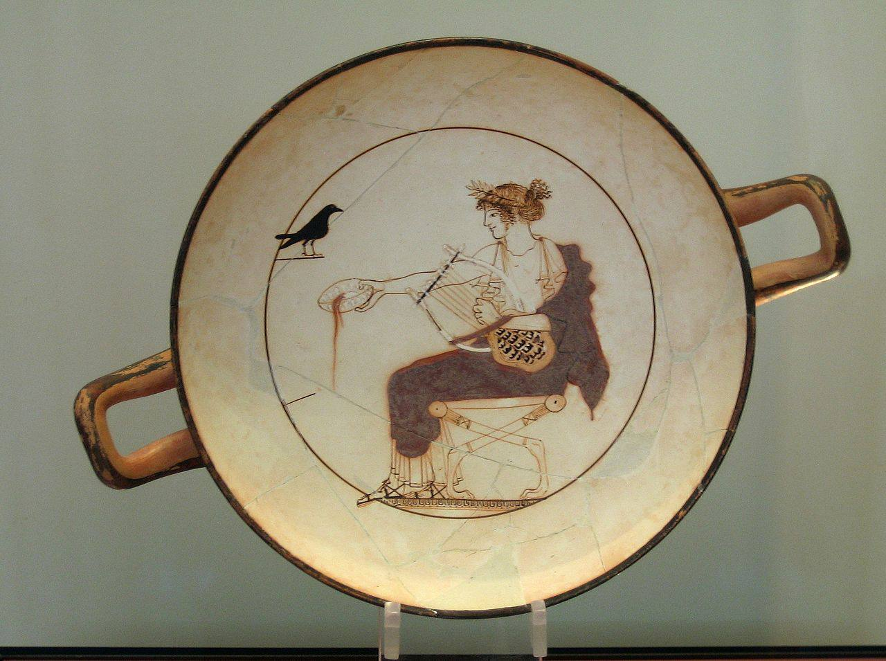 Painting of Apollo with sitting with lyre next to raven on a plate.