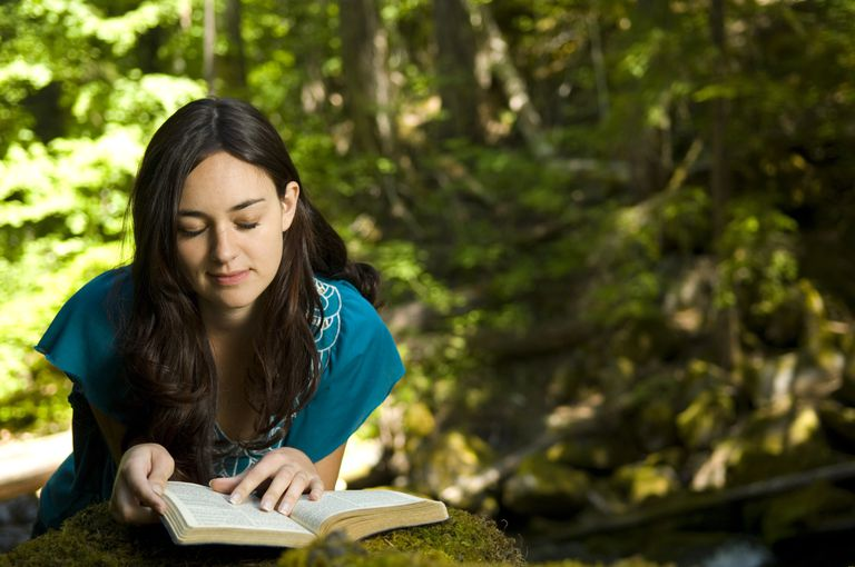 Bible reading in the woods
