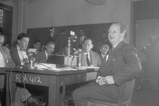 Hans Bethe at a press conference