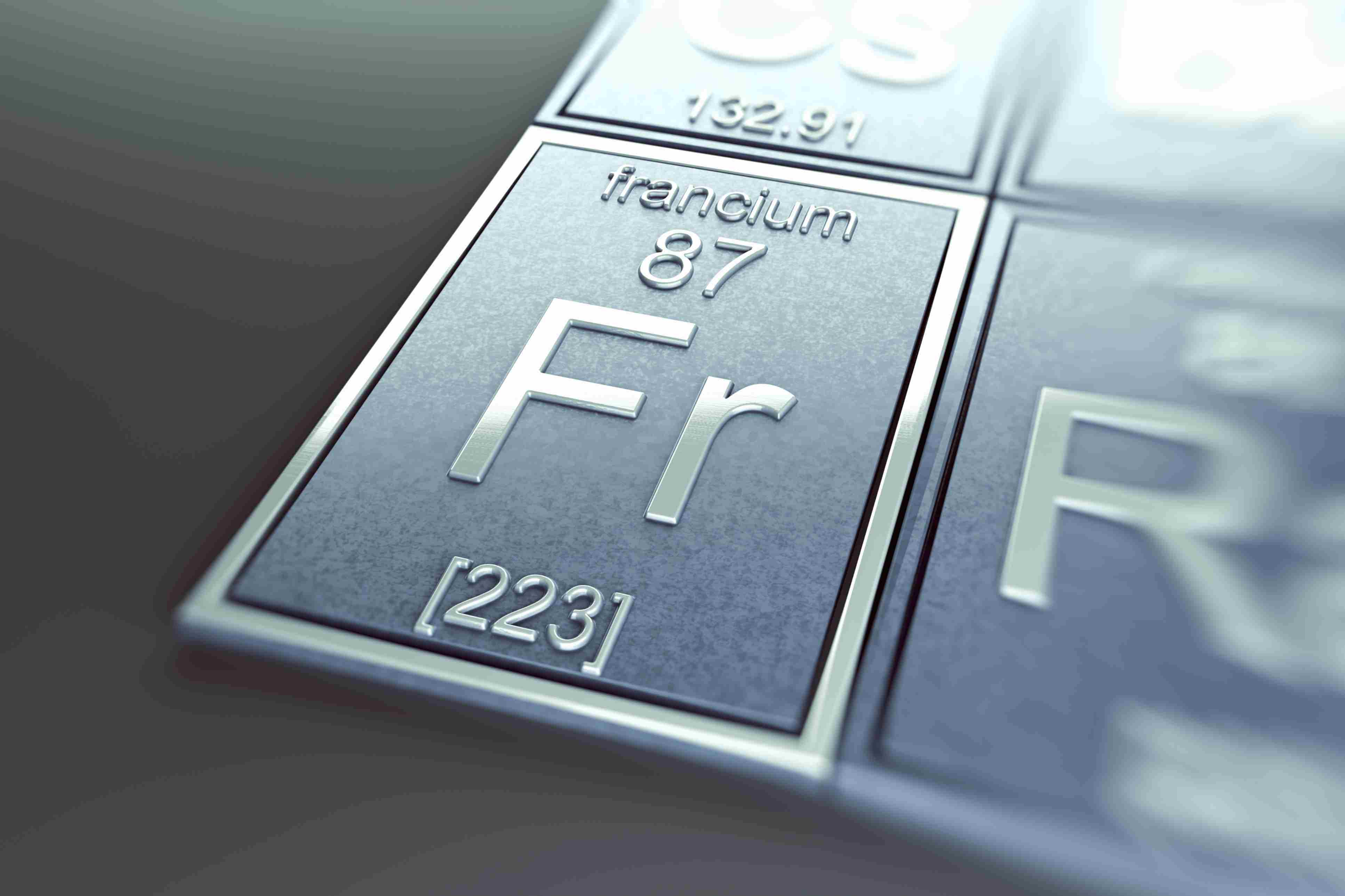 Francium and other alkali metals react vigorously with water. The pure element would like explode on contact with skin.