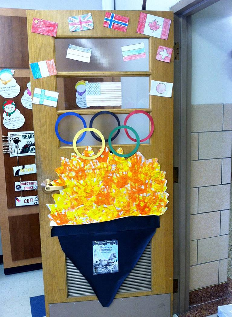Olympic Door Decoration Submitted By Lindsay Springer Of Buffalo NY Photo Courtesy Janelle Cox