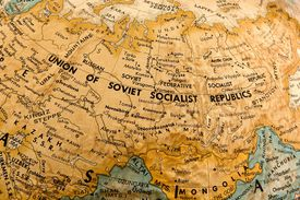 A globe showing the Union of Soviet Socialist Republics