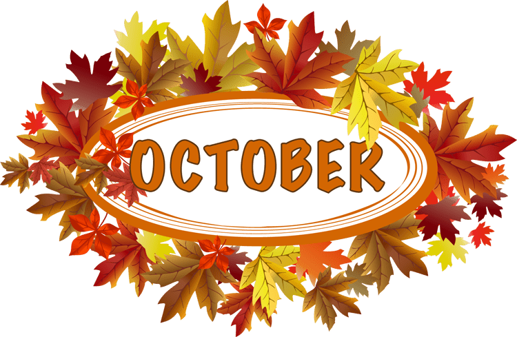 Clip Art of words and leaves for an October Sign