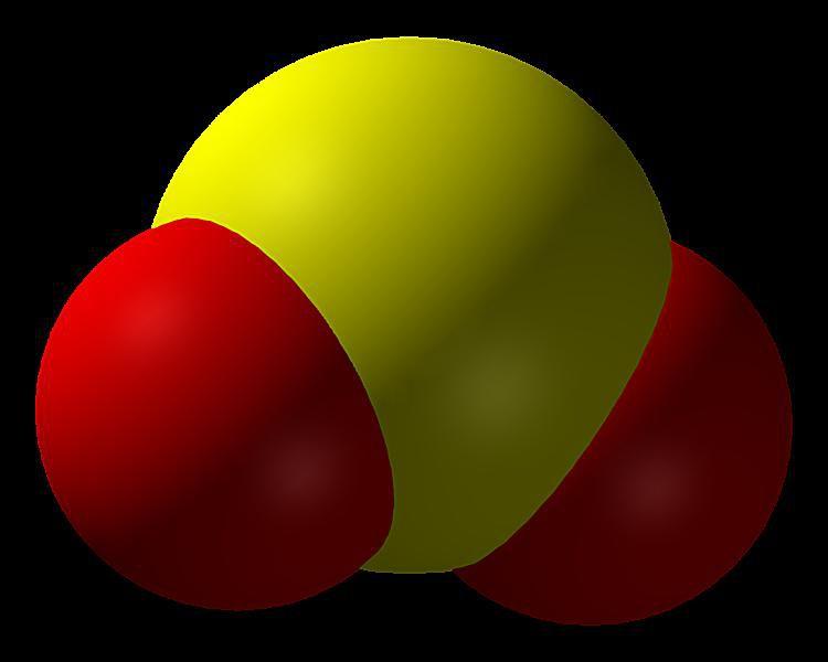 Este es el modelo de llenado de espacio para el dióxido de azufre, SO2.