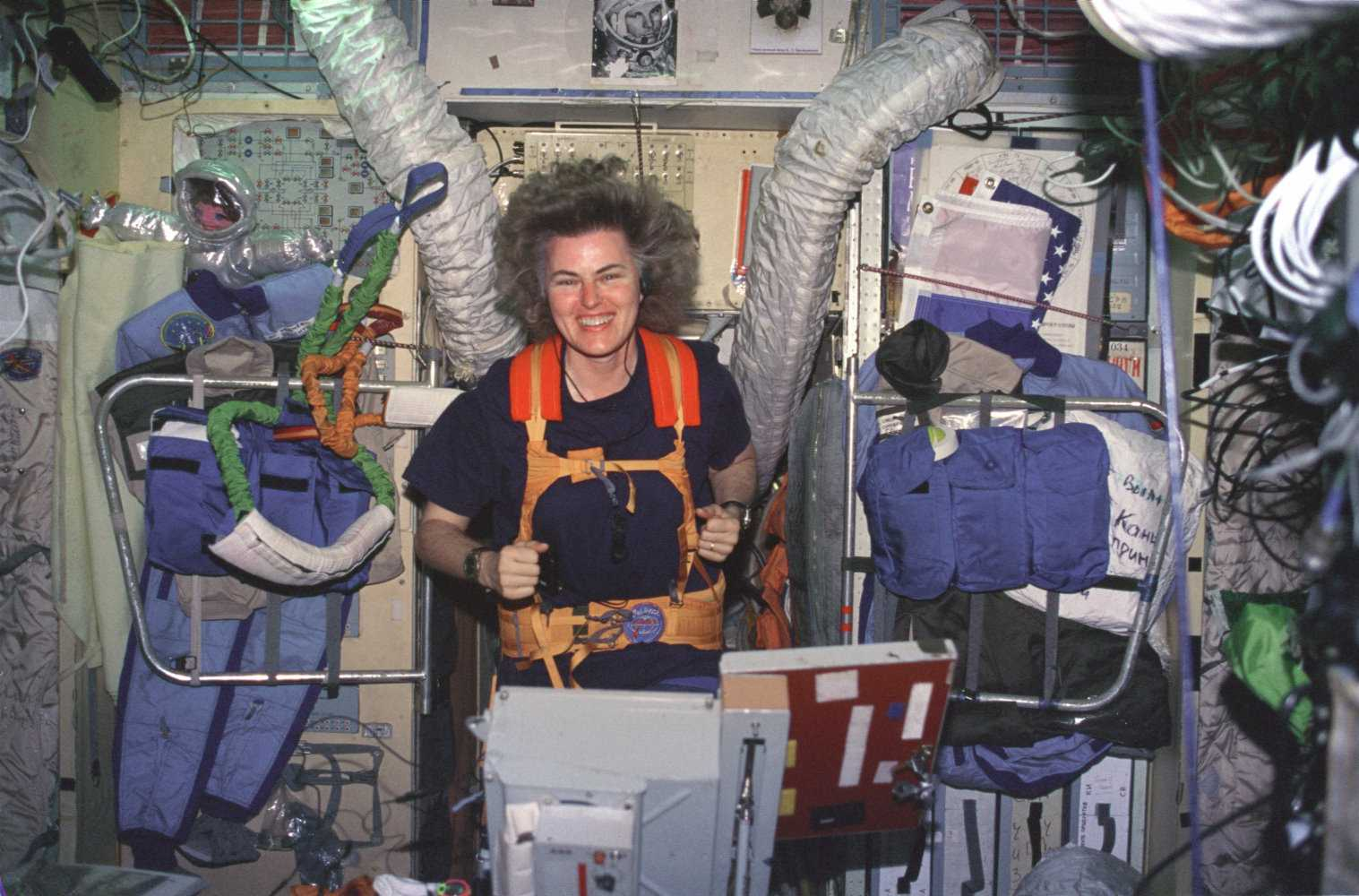 Shannon Lucid on treadmill aboard Russian space station Mir, 1996.