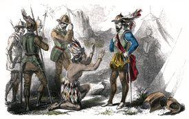 Atahualpa kneeling before Spanish conquistador Pizarro