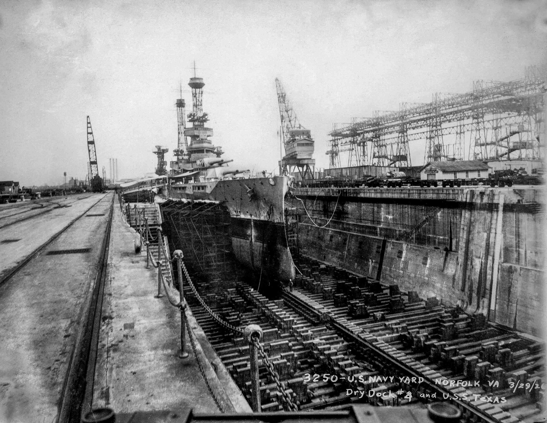 Battleship USS Texas (BB-35) in dry dock, 1926.