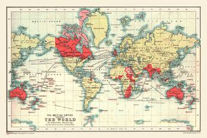 World map showing the British Empire in 1902. British possessions colored red.