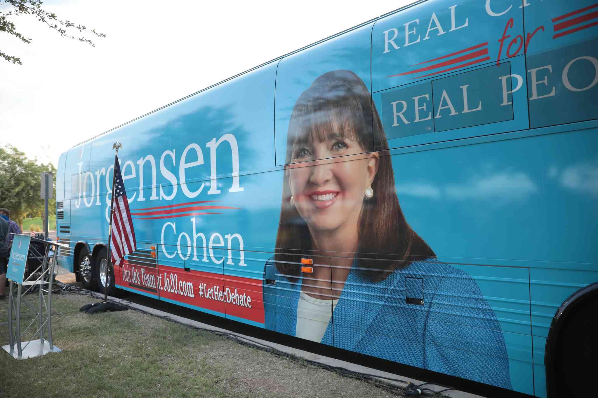 Jo Jorgensen's image on a campaign bus