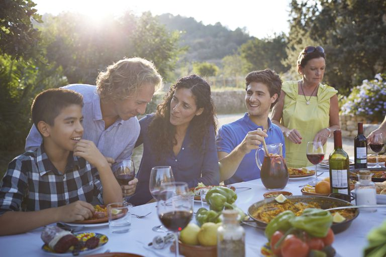 An outdoor family dinner