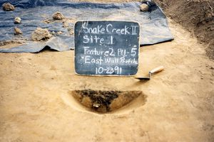 Feature excavated during a Phase II testing project at Snake Creek in Georgia.