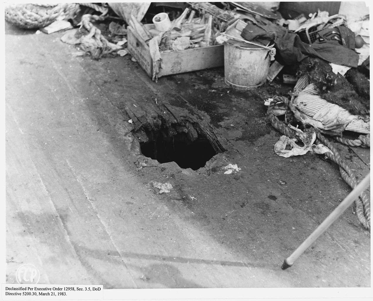 Bomb hole through upper deck, U.S.S. California.