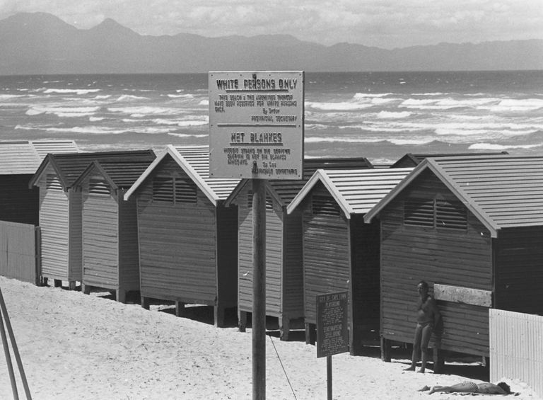 Public Beach for Whites Only in South Africa during apartheid.
