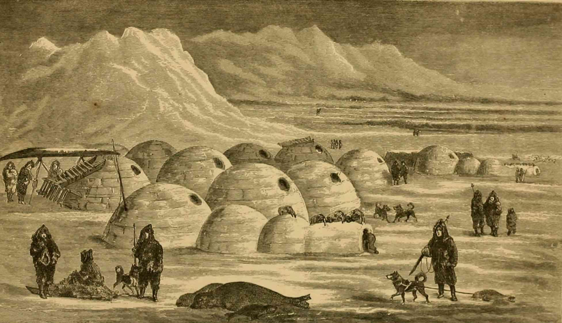 Twerpukjua Snow Village κοντά στο νησί Nunivak, Bering Sea