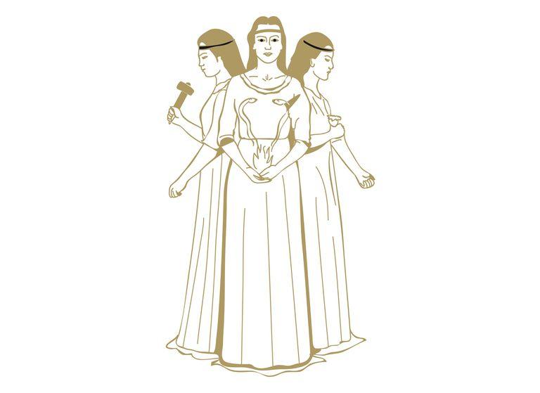 Digital illustration of Celtic triple Goddess Brigit holding snakes rising from flames