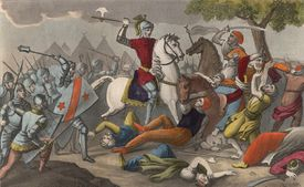 Coloured engraving of Charles Martel defeating the king of the Saracens