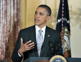 U.S. President Barack Obama delivers remarks at the Diplomatic Corps Holiday Reception on December 19, 2012
