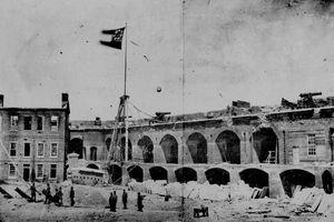 Interior of Fort Sumter after the April 1861 battle.