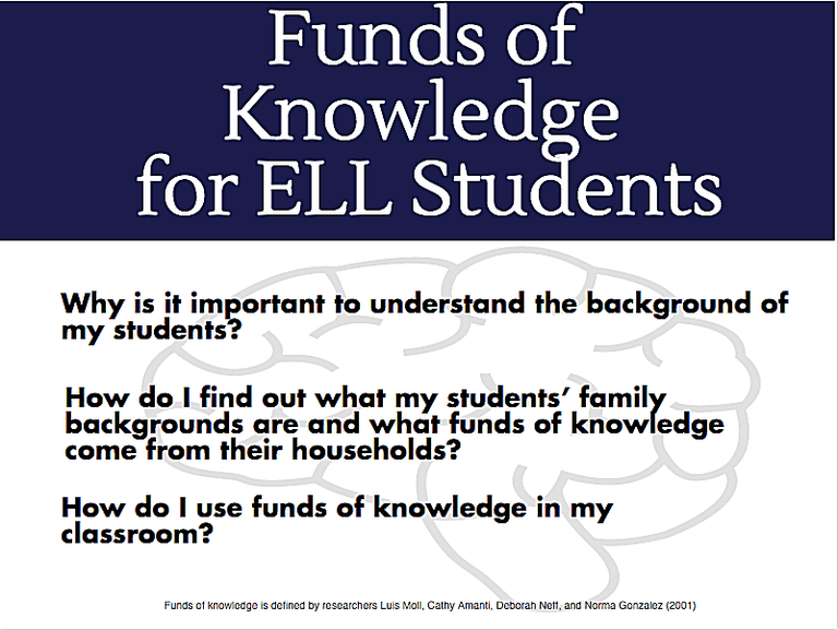 Funds Of Knowledge As Rich Resources For Ell Students