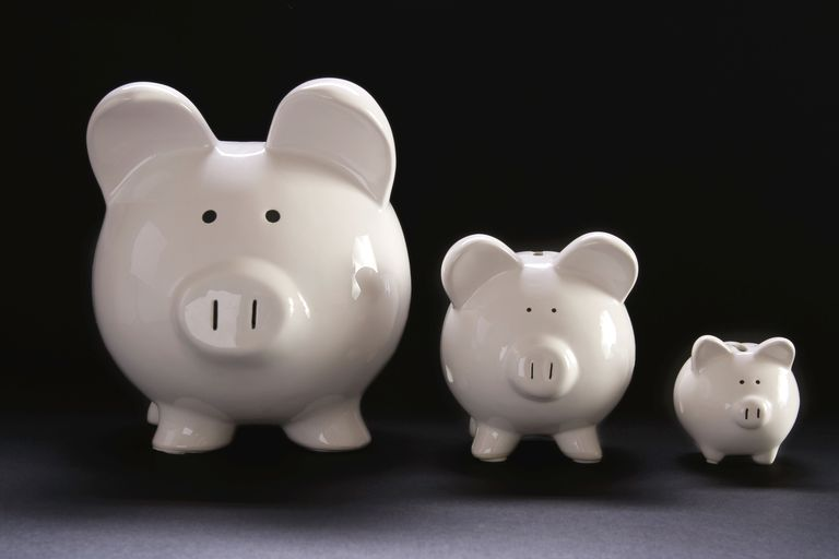 Three piggy banks of gradually smaller sizes